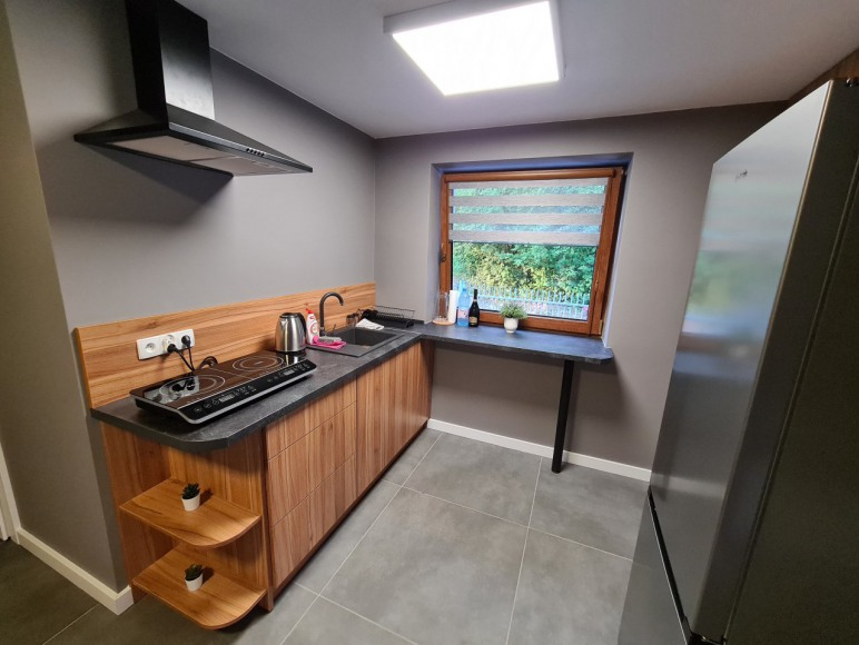 w Kuchni lodówka, płyta indukcyjna, mikrofala, czajnik, opiekacz
