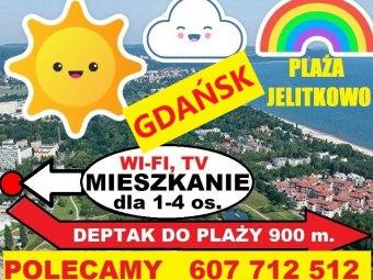 """Kwatera nad morzem """"Plaża Jelitkowo"""" [900 m.] 4os"""